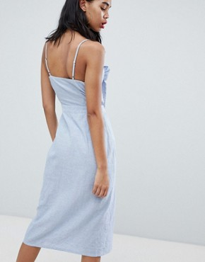 photo Tie Front Button Down Strappy Midi Dress by Missguided, color Stripe - Image 2