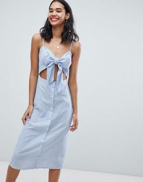 photo Tie Front Button Down Strappy Midi Dress by Missguided, color Stripe - Image 1