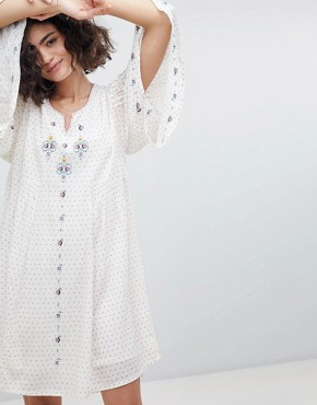 photo Embroidered Tunic Dress with Fluted Sleeve by Intropia, color Beige Print - Image 1