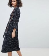 photo Midi Dress with Placement Embroidery by Intropia, color Black Print - Image 2