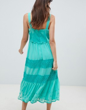 photo Tiered Embroidered Midi Dress by ASOS DESIGN, color Blue - Image 2