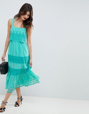 photo Tiered Embroidered Midi Dress by ASOS DESIGN, color Blue - Image 1