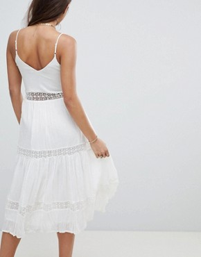 photo Lace Insert Crinkle Tiered Midi Sundress by ASOS DESIGN, color Cream - Image 2