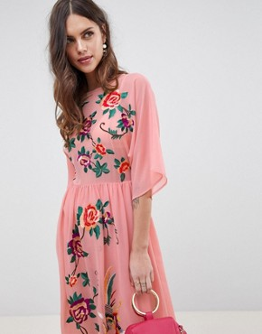 photo Smock Midi Dress with Bird and Floral Embroidery by ASOS DESIGN, color Pink - Image 3