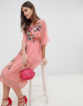 photo Smock Midi Dress with Bird and Floral Embroidery by ASOS DESIGN, color Pink - Image 4