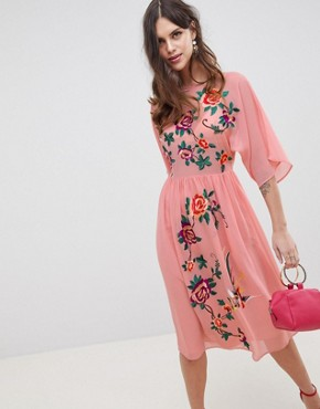 photo Smock Midi Dress with Bird and Floral Embroidery by ASOS DESIGN, color Pink - Image 1
