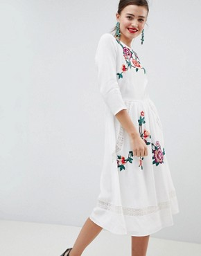 photo Lace Embroiderd Midi Dress with Open Back by ASOS DESIGN Premium, color Cream - Image 1