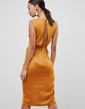 photo Twist Front Sexy Satin Pencil Dress with Cut Out by ASOS DESIGN Tall, color Gold - Image 2