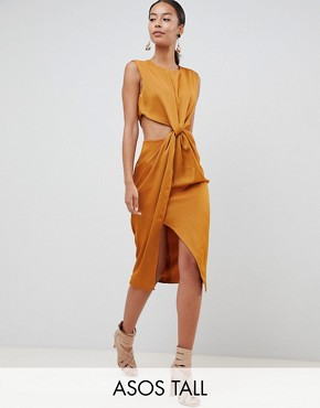 photo Twist Front Sexy Satin Pencil Dress with Cut Out by ASOS DESIGN Tall, color Gold - Image 1