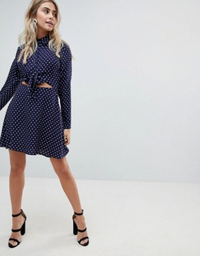 photo Tie Front Shirt Mini Dress in Spot by ASOS DESIGN, color Multi - Image 4