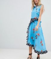 photo Sleeveless Midi Dress in Mix and Match Floral Print by ASOS DESIGN, color Multi - Image 4