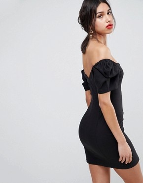 photo Linen Off Shoulder Mini Dress with Tortoiseshell Buttons by ASOS DESIGN, color Black - Image 2