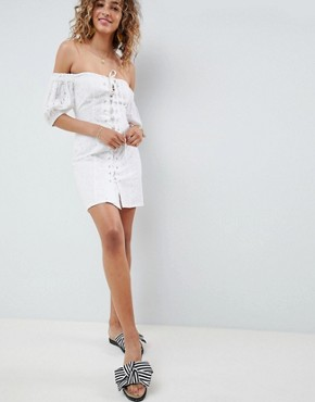 photo Lace Up Broderie Off Shoulder Mini Sundress by ASOS DESIGN, color White - Image 4