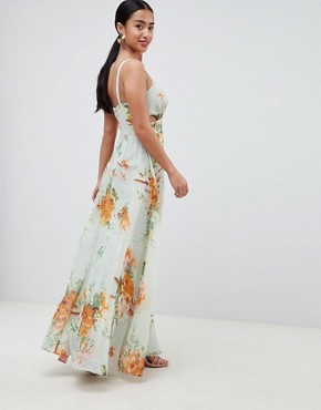 photo Maxi Dress with Side Cut Out in Green Floral Print by ASOS DESIGN Petite, color Floral - Image 2