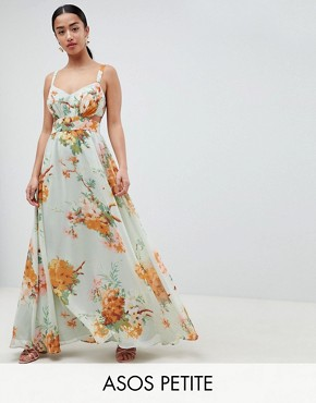 photo Maxi Dress with Side Cut Out in Green Floral Print by ASOS DESIGN Petite, color Floral - Image 1