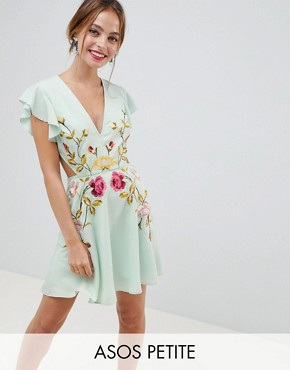 photo Embroidered Skater Mini Dress with Cut Out Sides by ASOS DESIGN Petite, color Pastel Green - Image 1