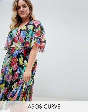 photo Midi Dress with Pleat Skirt and Flutter Sleeve in Floral Print by ASOS DESIGN Curve, color Multi - Image 1