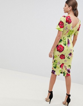 photo Yellow Floral Midi Wiggle Dress by ASOS DESIGN, color Multi - Image 2