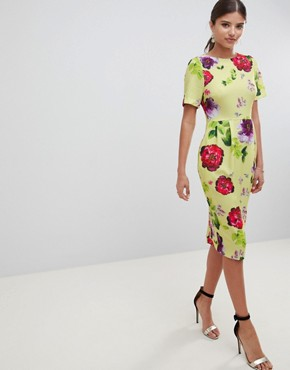 photo Yellow Floral Midi Wiggle Dress by ASOS DESIGN, color Multi - Image 1