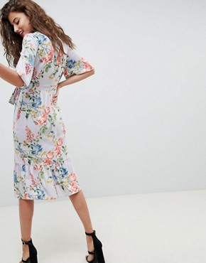 photo Floral Print Kimono Sleeve Wrap Midi Dress by ASOS, color Multi - Image 2