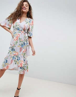 photo Floral Print Kimono Sleeve Wrap Midi Dress by ASOS, color Multi - Image 1