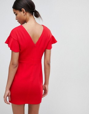 photo Mini Wiggle Dress with Fluted Sleeve by ASOS DESIGN, color Bright Red - Image 2