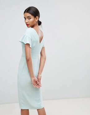 photo Midi Wiggle Dress with Fluted Sleeve by ASOS DESIGN, color Mint Green - Image 2
