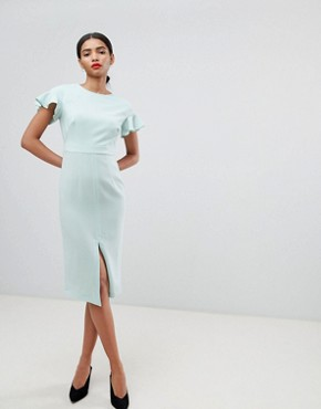 photo Midi Wiggle Dress with Fluted Sleeve by ASOS DESIGN, color Mint Green - Image 1