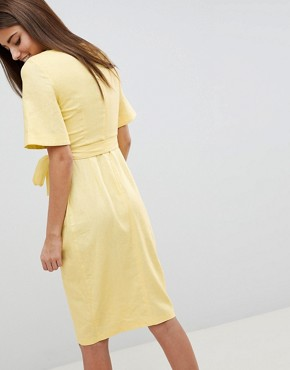 photo Linen Midi Pencil Dress with Kimono Sleeve by ASOS DESIGN, color Lemon - Image 2