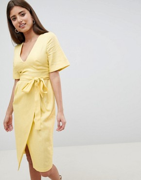 photo Linen Midi Pencil Dress with Kimono Sleeve by ASOS DESIGN, color Lemon - Image 1