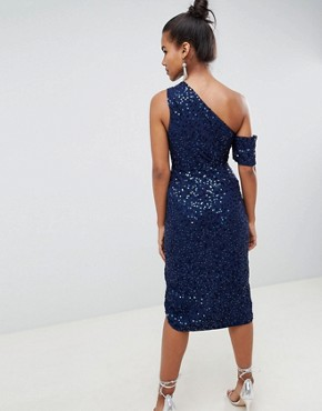 photo Drape Pencil Midi Dress in All Over Sequin by ASOS DESIGN, color Navy - Image 2