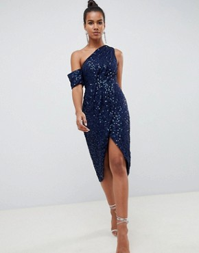photo Drape Pencil Midi Dress in All Over Sequin by ASOS DESIGN, color Navy - Image 1
