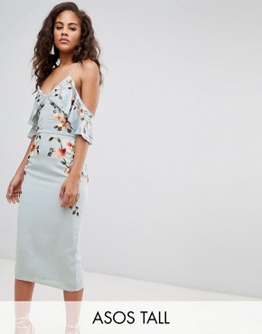 photo Embroidered Pencil Dress with Cold Shoulder by ASOS DESIGN Tall, color Pale Blue - Image 1