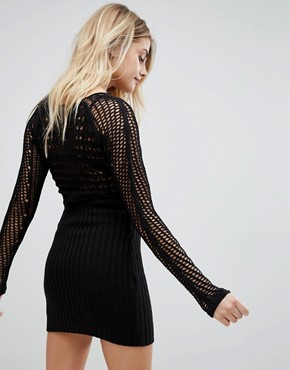 photo Bodycon Dress in Crochet with Long Sleeve by ASOS DESIGN, color Black - Image 2