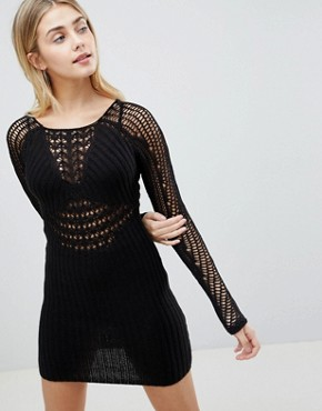 photo Bodycon Dress in Crochet with Long Sleeve by ASOS DESIGN, color Black - Image 1