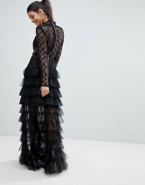 photo Spot Mesh Tulle Maxi Dress by Bronx and Banco, color Black/Nude - Image 2