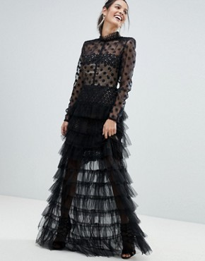 photo Spot Mesh Tulle Maxi Dress by Bronx and Banco, color Black/Nude - Image 1