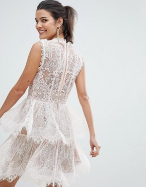 photo Tiered Mini Dress in Lace by Bronx and Banco, color Blush - Image 2