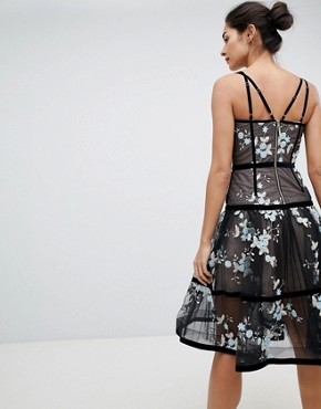 photo Caged Midi Dress with Floral Embroidery by Bronx and Banco, color Black - Image 2