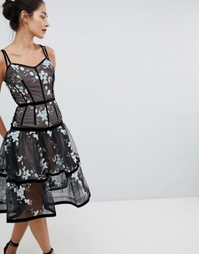 photo Caged Midi Dress with Floral Embroidery by Bronx and Banco, color Black - Image 1