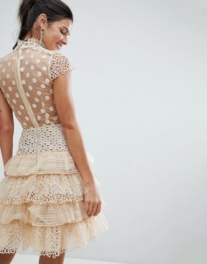 photo Tulle Lace Mini Dress by Bronx and Banco, color Beige - Image 2