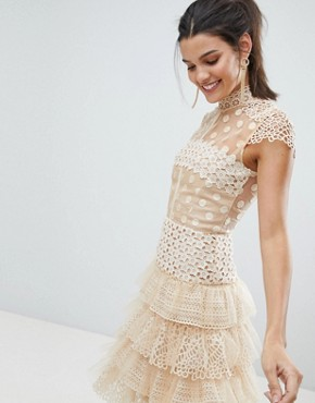 photo Tulle Lace Mini Dress by Bronx and Banco, color Beige - Image 1