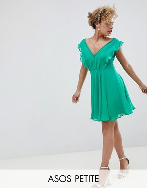 photo Pleated Ruffle Mini Dress with Cut Outs by ASOS DESIGN Petite, color Green - Image 1