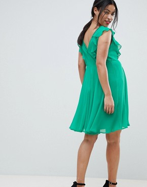 photo Maternity Pleated Ruffle Mini Dress with Cut Outs by ASOS DESIGN, color Green - Image 2
