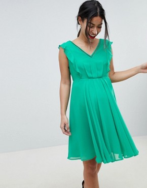 photo Maternity Pleated Ruffle Mini Dress with Cut Outs by ASOS DESIGN, color Green - Image 1