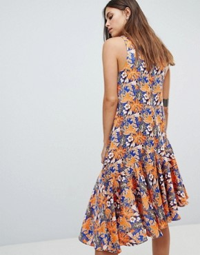 photo Floral Print Asymetric Dress with Ruffle Hem by Y.A.S, color Multi - Image 2