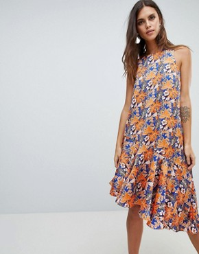 photo Floral Print Asymetric Dress with Ruffle Hem by Y.A.S, color Multi - Image 1