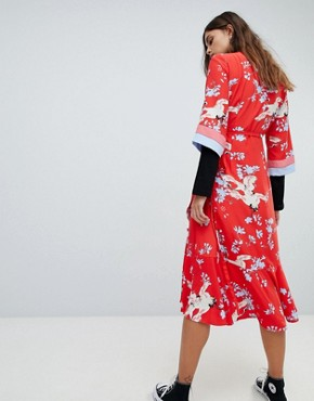 photo Printed Kimono Wrap Dress by Y.A.S, color Multi - Image 2