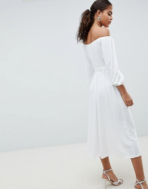 photo Bardot Midi Dress with Belt by ASOS DESIGN Tall, color White - Image 2