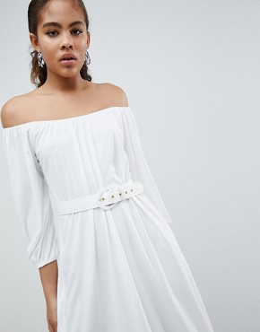 photo Bardot Midi Dress with Belt by ASOS DESIGN Tall, color White - Image 3